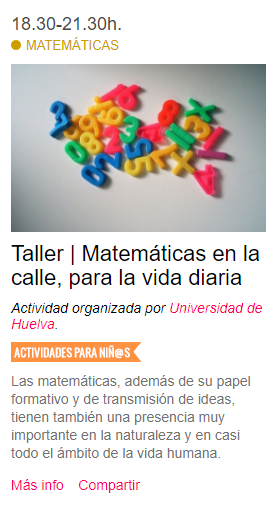 Taller | Matemáticas en la calle, para la vida diaria #NIGHTSpain